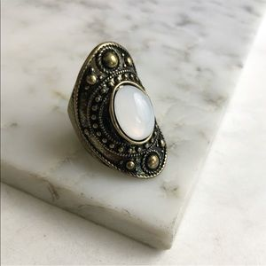Statement Ring with Oval Opal Colored Stone